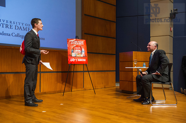 Nov. 21, 2014; Kevin O'Leary, one of the judges from The Shark Tank television show speaks with Mendoza students about entrepreneurship. Selected students also pitched their business ideas to O'Leary. (Photo by Barbara Johnston/University of Notre Dame)