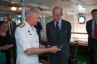Pictured: Prince Edward (R) is shown around the ship. Saturday 18 May 2019<br /> Re: Prince Edward, Duke of Kent visits cruiser Georgios Averof at Palaio Faliro, Athens, Greece