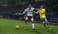 Bolton Wanderers' David Wheater holds off the challenge from Leeds United's Mateusz Klich<br /> <br /> Photographer Stephen White/CameraSport<br /> <br /> The EFL Sky Bet Championship - Bolton Wanderers v Leeds United - Saturday 15th December 2018 - University of Bolton Stadium - Bolton<br /> <br /> World Copyright &copy; 2018 CameraSport. All rights reserved. 43 Linden Ave. Countesthorpe. Leicester. England. LE8 5PG - Tel: +44 (0) 116 277 4147 - admin@camerasport.com - www.camerasport.com