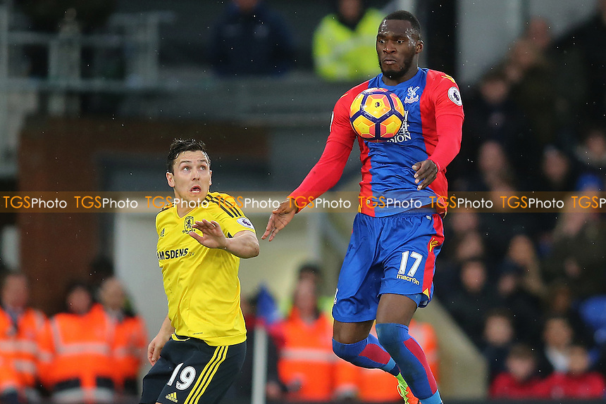 Christian Benteke of Crystal Palace and Stewart Downing during Crystal Palace vs Middlesbrough, Premier League Football at Selhurst Park on 25th February 2017