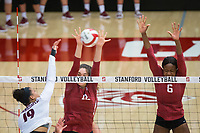 STANFORD, CA - September 9, 2018: Audriana Fitzmorris, Tami Alade at Maples Pavilion. The Stanford Cardinal defeated #1 ranked Minnesota 3-1 in the Big Ten / PAC-12 Challenge.
