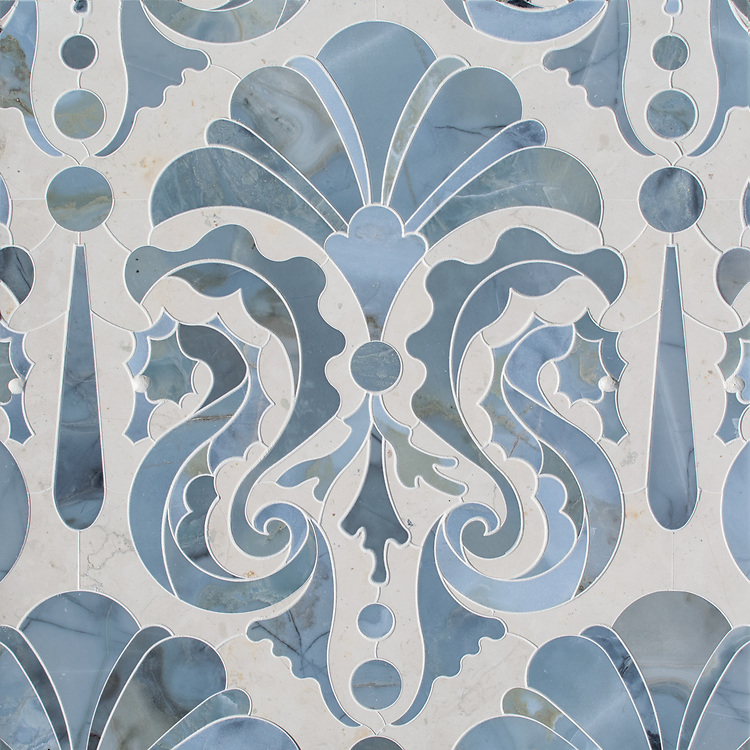 "Caroushell,® a waterjet stone mosaic, shown in polished Pacifica and Bianco Antico, is part of Cean Irminger's second KIDDO Collection, ""KIDDO: Wunderkammer® Edition"" for New Ravenna."