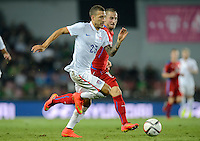 PRAGUE, Czech Republic - September 3, 2014: USA's Fabian Johnson and Lukas Vacha of the Czech Republic during the international friendly match between the Czech Republic and the USA at Generali Arena.
