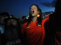 A Netherlands soccer fan celebrates her team's goal against Spain as they watch the World Cup game inside<br />  the FIFA Fan Fest area on Copacabana beach, Rio de Janeiro, Brazil, June 13, 2014. Netherlands win 5 x1. (Austral Foto/Renzo Gostoli)