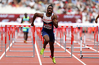 David Omoregie of Great Britain competes in the menís 110 metres hurdles  during the Muller Anniversary Games at The London Stadium on 9th July 2017