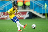 Neymar of Brazil scores a penalty goal to make it 2-1