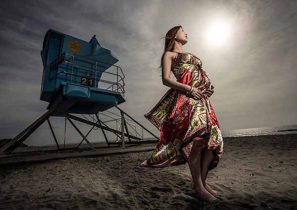 Pregnant Asian women at South Carlsbad State Beach