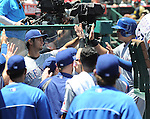 Yu Darvish (Rangers),<br /> MAY 4, 2014 - MLB :<br /> Yu Darvish of the Texas Rangers in the dugout during the Major League Baseball game against the Los Angeles Angels at Angel Stadium in Anaheim, California, United States. (Photo by AFLO)