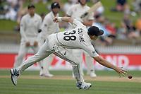 1st December 2019, Hamilton, New Zealand;  Tim Southee fields down low.<br /> International test match cricket, New Zealand versus England at Seddon Park, Hamilton, New Zealand. Sunday 1 December 2019.