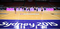 04.08.2015 Silver Ferns in action during Silver Ferns training ahead of the 2015 Netball World Champs at All Phones Arena in Sydney, Australia. Mandatory Photo Credit ©Michael Bradley.