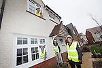 Redrow Homes<br /> Apprentices visiting the Mon Bank development in Newport, Tom Jones, Malcolm Thomas &amp; Callum Davies with Petra Foley from Redrow Homes.<br /> 06.03.14<br /> <br /> &copy;Steve Pope-FOTOWALES