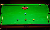 30th January 2019, Berlin, Germany;  Snooker balls and cues can be seen on a snooker table at the German Masters 2019.