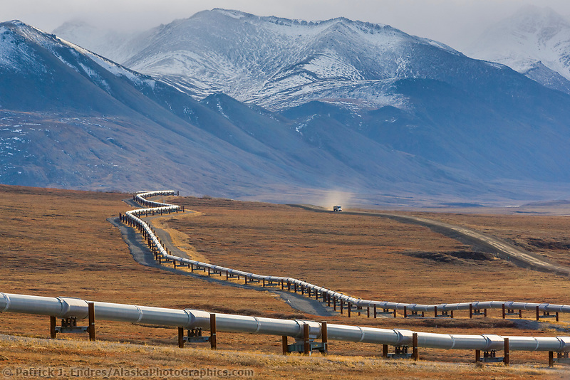 Trans Alaska Oil Pipeline crosses the tundra in the Brooks Range, Alaska.