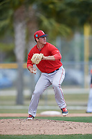 Boston Red Sox pitcher Jared Oliver (71) during a Minor League Spring Training game against the Baltimore Orioles on March 20, 2018 at Buck O'Neil Complex in Sarasota, Florida.  (Mike Janes/Four Seam Images)