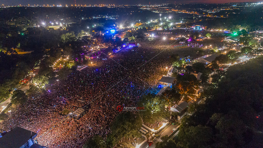 Up to half a million people gather at the The Samsung Galaxy Stage at ACL Music Festival in Zilker Park, Austin, Texas.