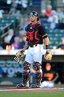 Rochester Red Wings catcher Dan Rohlfing #52 during a game against the Scranton Wilkes-Barre RailRiders on June 19, 2013 at Frontier Field in Rochester, New York.  Scranton defeated Rochester 10-7.  (Mike Janes/Four Seam Images)