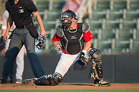 Kannapolis Intimidators catcher Casey Schroeder (17) on defense against the Greenville Drive at Kannapolis Intimidators Stadium on August 9, 2017 in Kannapolis, North Carolina.  The Drive defeated the Intimidators 6-1.  (Brian Westerholt/Four Seam Images)