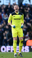 Sam Johnstone of Aston Villa celebrates after his side goes 1-0 up during the Sky Bet Championship match between Aston Villa and Birmingham City at Villa Park, Birmingham, England on 11 February 2018. Photo by Bradley Collyer/PRiME Media Images.