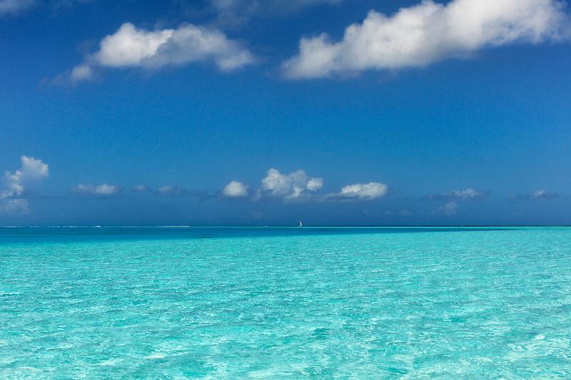 Small sailboat in Bora Bora. French Polynesia