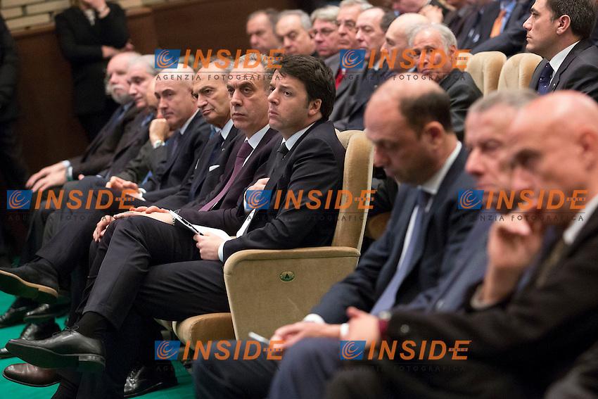 Matteo Renzi e Angelino Alfano<br /> Roma 11-02-2015 Inaugurazione dell'Anno accademico della Scuola Allievi Ufficiali dei Carabinieri.<br /> Photo Samantha Zucchi Insidefoto