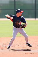 Nick Bartolone #1 of the Cleveland Indians plays in a minor league spring training game against the Cincinnati Reds on March 27, 2011  in Goodyear, Arizona. .Photo by:  Bill Mitchell/Four Seam Images.