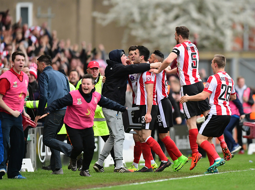 Lincoln City's Sam Habergham celebrates scoring his sides second goal <br /> <br /> Photographer Chris Vaughan/CameraSport<br /> <br /> Vanarama National League - Lincoln City v Torquay United - Friday 14th April 2016  - Sincil Bank - Lincoln<br /> <br /> World Copyright &copy; 2017 CameraSport. All rights reserved. 43 Linden Ave. Countesthorpe. Leicester. England. LE8 5PG - Tel: +44 (0) 116 277 4147 - admin@camerasport.com - www.camerasport.com