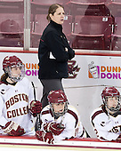 Meghan Grieves (BC - 17), Katie King Crowley (BC - Head Coach), Caitlin Walsh (BC - 11), Kristina Brown (BC - 2) - The Boston College Eagles defeated the visiting Cornell University Big Red 4-3 (OT) on Sunday, January 11, 2012, at Kelley Rink in Conte Forum in Chestnut Hill, Massachusetts.