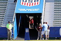 Cary, NC - Sunday October 22, 2017: Alex Morgan and Christen Press enter the stadium prior to an International friendly match between the Women's National teams of the United States (USA) and South Korea (KOR) at Sahlen's Stadium at WakeMed Soccer Park. The U.S. won the game 6-0.