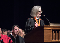Occidental College Board of Trustees chair Susan Howell Mallory '76 M'78. The class of 2021 are welcomed to Occidental College by trustees, faculty and staff in Thorne Hall on Aug. 29, 2017 during Oxy's 130th Convocation ceremony, a tradition that formally marks the start of the academic year and welcomes the new class.<br /> (Photo by Marc Campos, Occidental College Photographer)