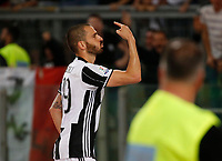 Leonardo Bonucci  celebrates after scoring during the  italian cup final soccer match,between Juventus Fc   and SS Lazio     at  the Olympic   stadium in Rome  Italy , May 17, 2017
