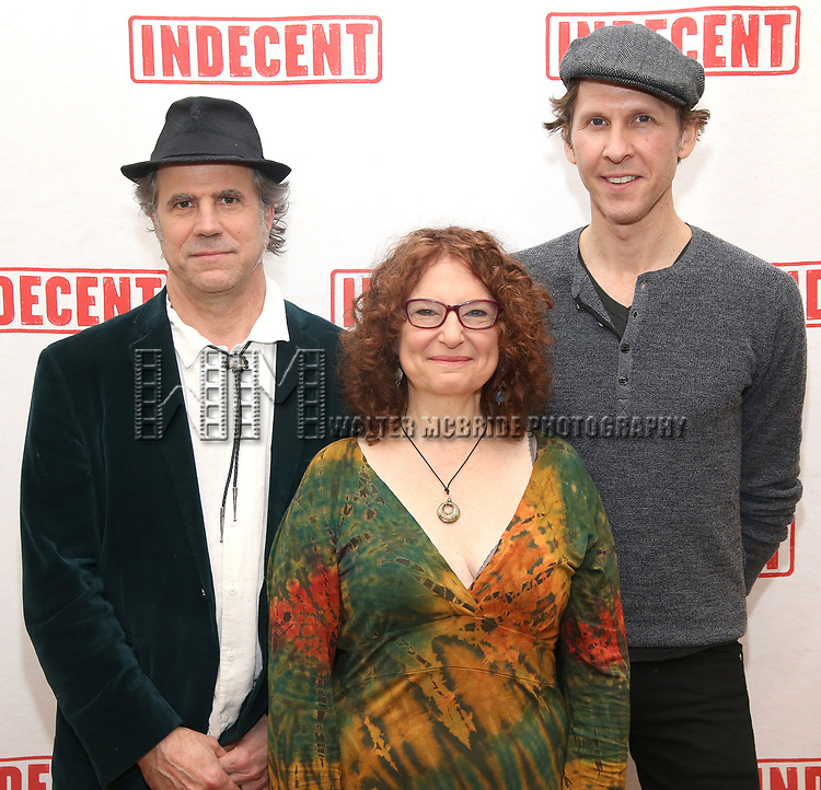 """The Band: Matt Darriau, Lisa Gutkin and Aaron Halva attends the """"Indecent"""" Media Day at Playwrights Horizons on March 13, 2017 in New York City."""