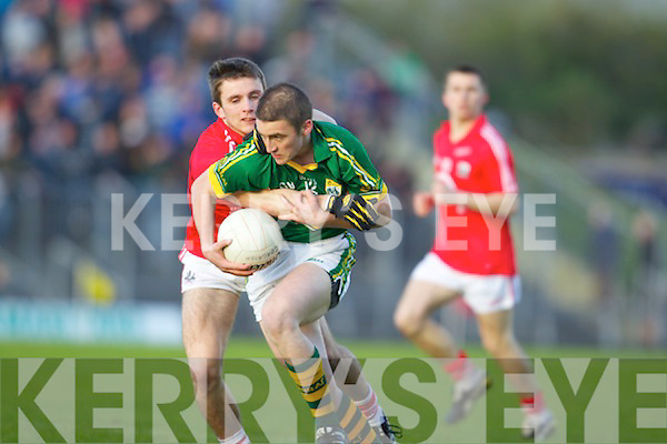 Stephen O'Brien Kerry in action against Jamie Wall Cork in the U-21 football Munster final at Austin Stack Park on Wednesday evening.