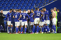 4th February 2020; Cardiff City Stadium, Cardiff, Glamorgan, Wales; English FA Cup Football, Cardiff City versus Reading; Cardiff City huddle for a team talk after it ended 2-2 after 90 minutes taking the game into extra time