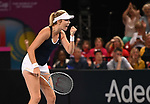 Katie Boulter (Great Britain) celebrates. Rubber 2. Great Britain v Kazakhstan. World group II play off in the BNP Paribas Fed Cup. Copper Box arena. Queen Elizabeth Olympic Park. Stratford. London. UK. 20/04/2019. ~ MANDATORY Credit Garry Bowden/Sportinpictures - NO UNAUTHORISED USE - 07837 394578