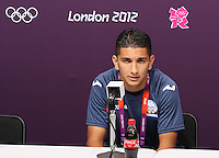 Hampden Park, Glasgow match venue for Football at London 2012...Johnny Leveron of Motagu at the Honduran Mens Press Conference.........