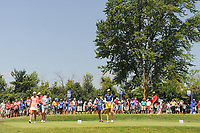 Lexi Thompson (USA) and Kim Kaufman (USA) draw a huge gallery on the number two tee box during Saturday's round 3 of the 2017 KPMG Women's PGA Championship, at Olympia Fields Country Club, Olympia Fields, Illinois. 7/1/2017.<br /> Picture: Golffile | Ken Murray<br /> <br /> <br /> All photo usage must carry mandatory copyright credit (&copy; Golffile | Ken Murray)