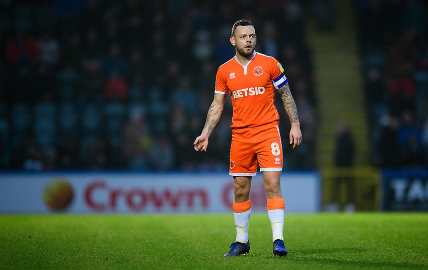 Blackpool's Jay Spearing<br /> <br /> Photographer Chris Vaughan/CameraSport<br /> <br /> The EFL Sky Bet League One - Rochdale v Blackpool - Wednesday 26th December 2018 - Spotland Stadium - Rochdale<br /> <br /> World Copyright © 2018 CameraSport. All rights reserved. 43 Linden Ave. Countesthorpe. Leicester. England. LE8 5PG - Tel: +44 (0) 116 277 4147 - admin@camerasport.com - www.camerasport.com