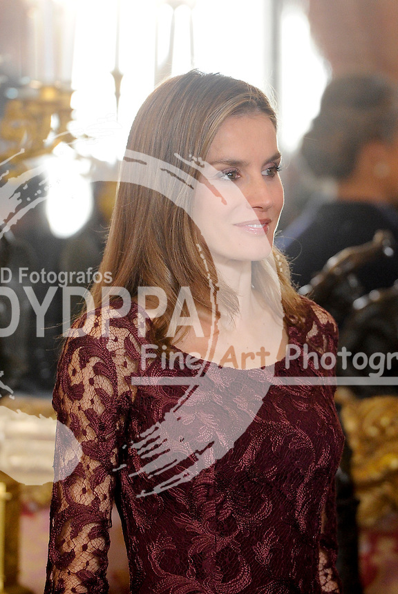 The Queen of Spain Sofia, The Princes of Asturias Felipe and Letizia, and Princess Elena govern the Spanish authorities reception at the royal palace on the occasion of the day of the national holiday. October 12, 2013. Photo by Bummer McCoy/Pool/DyD Fotografos