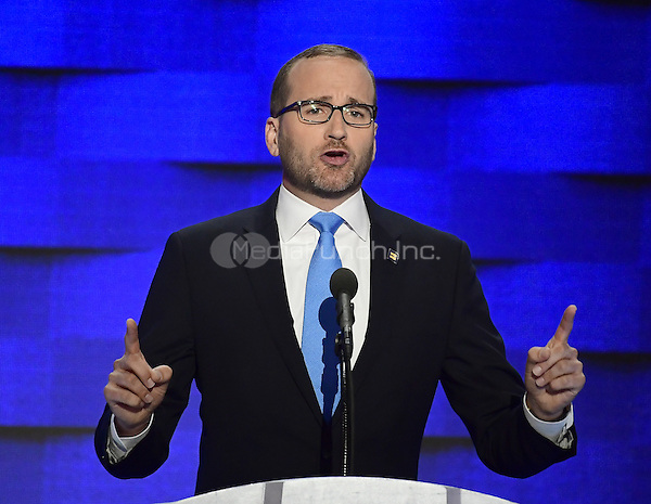 Chad Griffin, President, Human Rights Campaign, makes remarks during the fourth session of the 2016 Democratic National Convention at the Wells Fargo Center in Philadelphia, Pennsylvania on Thursday, July 28, 2016.<br /> Credit: Ron Sachs / CNP/MediaPunch<br /> (RESTRICTION: NO New York or New Jersey Newspapers or newspapers within a 75 mile radius of New York City)