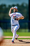 21 February 2019: Washington Nationals pitcher Austen Williams works on drills during a Spring Training workout at the Ballpark of the Palm Beaches in West Palm Beach, Florida. Mandatory Credit: Ed Wolfstein Photo *** RAW (NEF) Image File Available ***