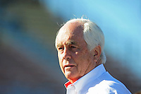 Apr 17, 2009; Avondale, AZ, USA; NASCAR Sprint Cup Series team owner Roger Penske during qualifying for the Subway Fresh Fit 500 at Phoenix International Raceway. Mandatory Credit: Mark J. Rebilas-