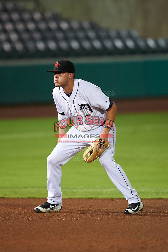 Scottsdale Scorpions shortstop JaCoby Jones (4) during an Arizona Fall League game against the Salt River Rafters on October 14, 2015 at Scottsdale Stadium in Scottsdale, Arizona.  Scottsdale defeated Salt River 13-3.  (Mike Janes/Four Seam Images)