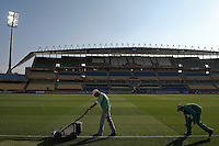 Groundsmen prepare the pitch at Royal Bafokeng Stadium prior to the game between England and USA.. USA vs England in the 2010 FIFA World Cup in Rustenburg, South Africa on June 12, 2010.