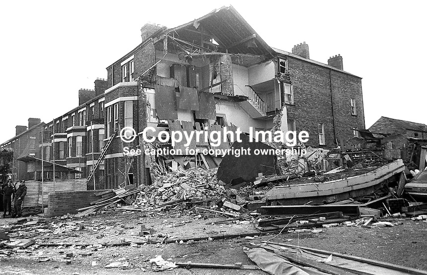 The aftermath of a Provisional IRA explosion at Chichester Road RUC Station, Belfast, on 29 October 1971, 428/71, 197110290428c.<br /> <br /> Copyright Image from Victor Patterson, 54 Dorchester Park, Belfast, UK, BT9 6RJ<br /> <br /> t1: +44 28 9066 1296<br /> t2: +44 28 9002 2446<br /> m: +44 7802 353836<br /> <br /> e1: victorpatterson@me.com<br /> e2: victorpatterson@gmail.com<br /> <br /> www.victorpatterson.com<br /> <br /> IMPORTANT: Please see my Terms and Conditions of Use at www.victorpatterson.com