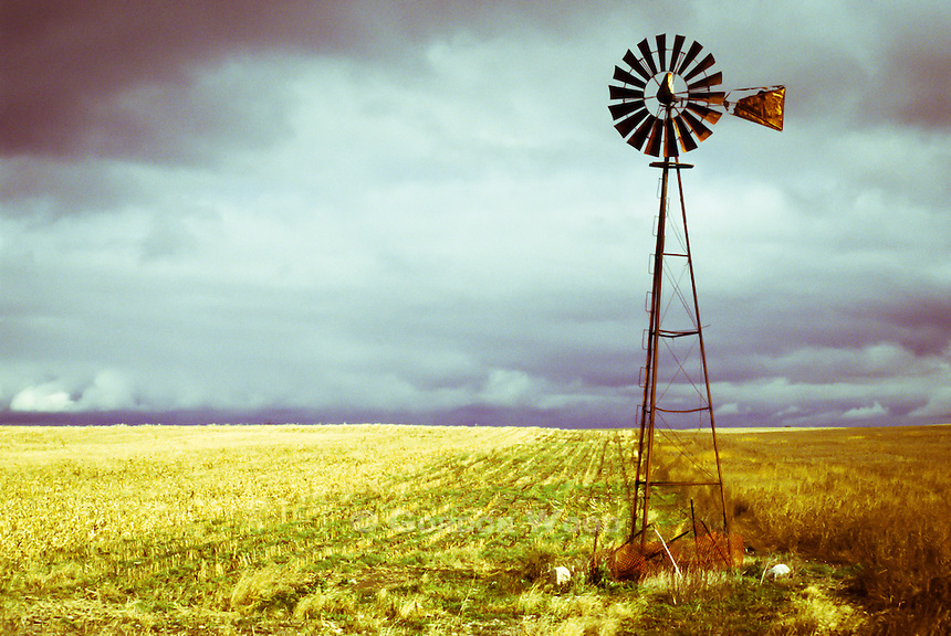 Windmill Against Autumn Sky
