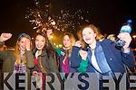 Tamila Khussainova, Adelina Nikolateva, Raminta Kaletkaite and Victoria Wolkanska, watching the New Year's Eve fire works display at Manor East, Tralee on Tuesday evening.