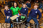 St Brendans NS Blennerville students taking part in the Cara Credit Union Quiz in the Brandon Hotel on Sunday. <br /> L to r, Dan O&rsquo;Connor, Karen Delaney (Cara Credit Union),  Ronan Coolio and Rory Daly.
