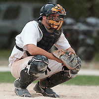 25 April 2010: Catcher Benjamin Deruelle of the PUC is seen during game 2/week 3 of the French Elite season won 12-0 by Rouen over the PUC, at the Pershing Stadium in Vincennes, near Paris, France.