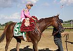 Blind Luck, Garrett Gomez up, wins the Grade II Delaware Handicap at Delaware Park, Stanton, DE, on July 16, 2011. Trainer is Jerry Hollendorfer; owners are  Mark DeDomenico LLC, John Carver, Peter Abruzzo and Jerry Hollendorfer (Joan Fairman Kanes/Eclipsesportswire)