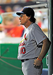 28 August 2010: St. Louis Cardinals Manager Tony La Russa in the dugout during a game against the Washington Nationals at Nationals Park in Washington, DC. The Nationals defeated the Cards 14-5 to take the third game of their 4-game series. Mandatory Credit: Ed Wolfstein Photo